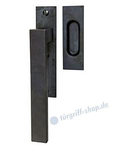 Lech Hebeschiebetürgriff mit Griffmuschel, eckige Rosette, 180° Rastermechanik, Schwarzstahl von Halcö