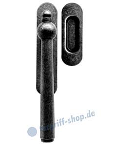 Leogang Hebe-Schiebetürrbeschlag unverschließbar mit Griffmuschel Schmiedeeisen schwarz patiniert von Griffwelt