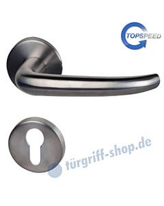 Madrid-R Rosetten-Halbgarnitur für Haustüren, Top Speed, Profilzylinder 8 mm, GK4, Edlestahl matt Südmetall