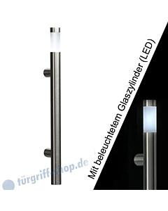 Stoßgriff Klassik LED 5233B/6 mit beleuchtetem Glaszylinder, Länge 410 mm, gerade Stütze, Edelstahl matt Schneider + Fichtel
