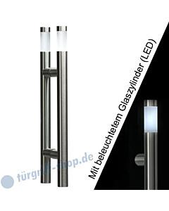 Stoßgriffpaar Klassik LED 5233B/1 für Glastüren mit beleuchtetem Glaszylinder, Länge 410 mm, gerade Stütze, Edelstahl matt Schneider + Fichtel