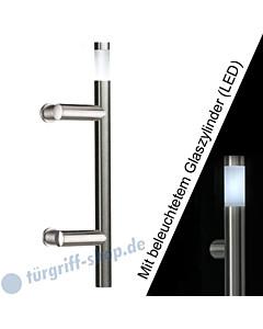 Stoßgriff Klassik LED 5233B/8 mit beleuchtetem Glaszylinder, Länge 410 mm, Winkelgriffstütze, Edelstahl matt Schneider + Fichel