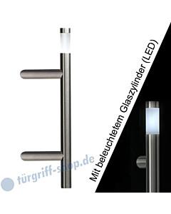 Stoßgriff Klassik LED 5233B/44 mit beleuchtetem Glaszylinder, Länge 410 mm, schräge Stütze, Edelstahl matt Schneider + Fichtel