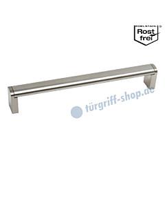 Möbelgriff mit ovaler Griffstange DM 20 mm und eckigen Stützen, in diversen Längen, Edelstahl matt / Edelstahlfarbig-matt von Südmetall