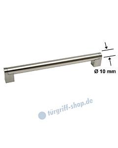 Möbelgriff mit Griffstange Ø 10 mm und eckigen Stützen, diverse Längen, Edelstahl matt / Edelstahlfarbig-matt von Südmetall