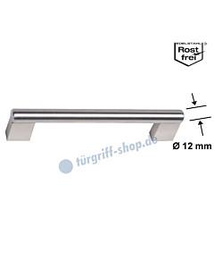 Möbelgriff mit Griffstange Ø 12 mm und eckigen Stützen, diverse Längen, Edelstahl matt / Edelstahlfarbig-matt von Südmetall