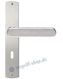 Monaco Langschildgarnitur Nickel matt/Edelstahl poliert/matt Griffwelt