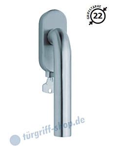 2100 Fenstergriff abschließbar, ovale Olive, Griffstärke 22 mm, Edelstahl o. PVD Messing-poliert Scoop