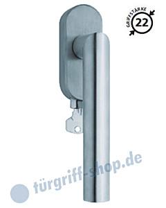 2106 Fenstergriff abschließbar, ovale Olive, Griffstärke 22 mm, Edelstahl o. PVD Messing-poliert Scoop