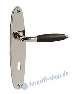 Parma Langschildgarnitur Nickel poliert / Holz Schwarz von Lienbacher