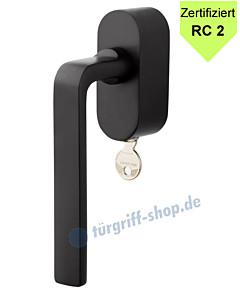Pure Fenstergriff ovale Rosette abschließbar RC 2 zertifiziert Schwarz RAL 9005 von Jatec