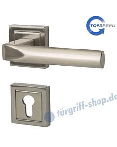 Pyramide Square-R quadrat. Rosetten-Halbgarnitur für Haustüren, Top Speed, Profilzylinder, 8 mm, GK4, Edelstahlfarbig-matt Südmetall
