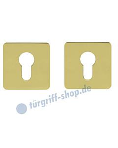 Schlüsselrosettenpaar PZ flächenbündig quadratisch 55x55mm Messing-poliert PVD Scoop