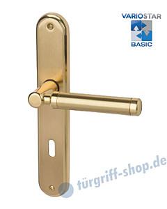 Queen-LS Langschildgarnitur Basic Messing-poliert / Messing-matt Südmetall