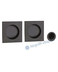 R60 Schiebetürmuschelpaar quadratisch mit Fingerhülse schwarz RAL 9005 von Reguitti
