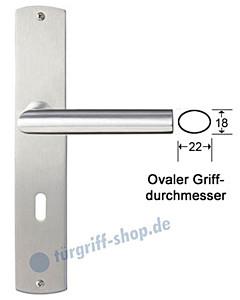 Bari Langschildgarnitur Nickel matt/Edelstahl matt Griffwelt