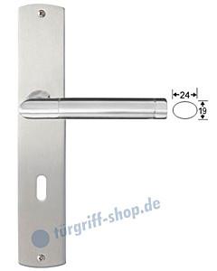 Genua II Langschildgarnitur Nickel matt/Edelstahl poliert/matt Griffwelt