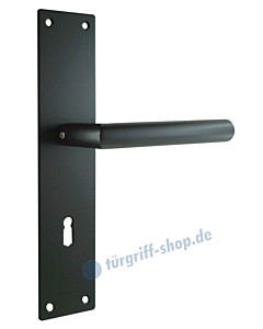 Renovierungs-Langschildgarnitur inkl. Drücker in L-Form schwarz von Edestar