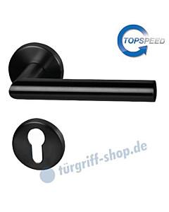 Ronny II-R Rosetten-Halbgarnitur für Haustüren, Top Speed, Profilzylinder, 8 mm, GK4, Schwarz-matt Südmetall