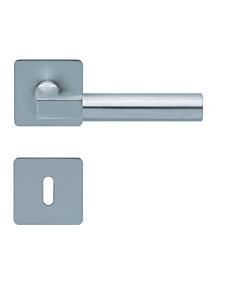 1016 (Bauhaus) flache quadratische Rosettengarnitur Edelstahl matt von Scoop