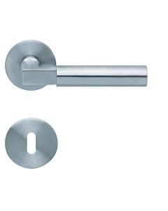 1016 (Bauhaus) flache runde Rosettengarnitur Edelstahl matt von Scoop
