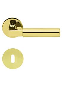 1016 (Bauhaus) flache runde Rosettengarnitur PVD Messing-poliert von Scoop