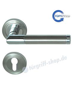 Royal-R Rosetten-Halbgarnitur für Haustüren, Top Speed, Profilzylinder, 8 mm, GK4, Chrom/Edelstahl-matt Südmetall