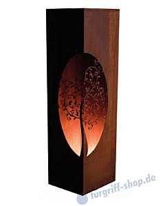 Säule Viereck - Lebensglück- aus gerostetem Metall Gartenambiente