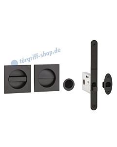 Schiebetürmuschel quadratisch für WC mit Riegel, Fingerhülse und Schloss in schwarz RAL 9005 von Reguitti