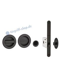 Schiebetürmuschel rund für WC mit Riegel, Fingerhülse und Schloss in schwarz RAL 9005 von Reguitti