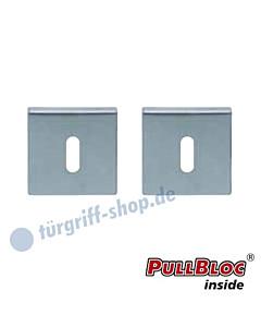 Schlüsselrosettenpaar Buntbart PullBloc quadratisch 55x55mm Edelstahl matt Scoop