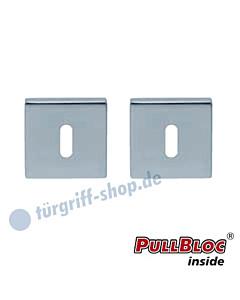 Schlüsselrosettenpaar Buntbart PullBloc quadratisch 55x55mm Edelstahl poliert Scoop