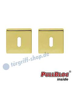 Schlüsselrosettenpaar Buntbart PullBloc quadratisch 55x55mm Messing-poliert PVD Scoop