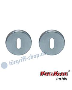 Schlüsselrosettenpaar Buntbart PullBloc rund Ø 54mm Edelstahl matt Scoop