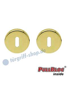 Schlüsselrosettenpaar Buntbart PullBloc rund Ø 54mm Messing poliert PVD Scoop