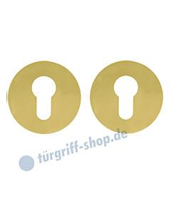 Schlüsselrosettenpaar PZ flächenbündig rund Ø 55mm Messing-poliert PVD Scoop