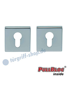 Schlüsselrosettenpaar PZ PullBloc quadratisch 55x55mm Edelstahl poliert Scoop