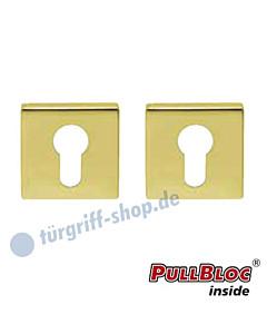 Schlüsselrosettenpaar PZ PullBloc quadratisch 55x55mm Messing poliert PVD Scoop