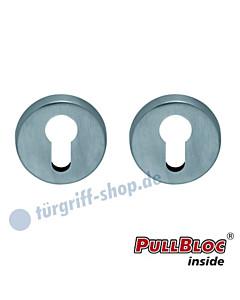 Schlüsselrosettenpaar PZ PullBloc rund Ø 54mm Edelstahl matt Scoop