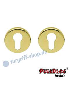 Schlüsselrosettenpaar PZ PullBloc rund Ø 54mm Messing poliert PVD Scoop