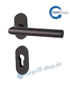 Ronny II-R Schmalrahmen-Halbgarnitur oval für Haustüren GK4 Schwarzstahl-Optik von Südmetall
