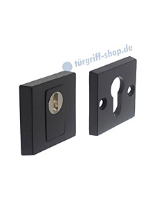Schutzrosettenpaar PZ quadratisch mit Kernziehschutz SKG*** schwarz matt Intersteel