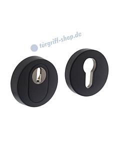 Schutzrosettenpaar PZ rund mit Kernziehschutz SKG*** schwarz matt Intersteel