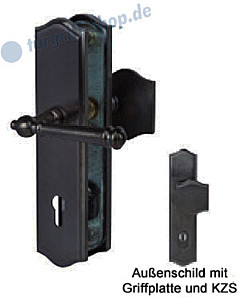 Sicura Mount Everest-LS/LS Schutzgarnitur Griffplatte/Drücker KZS schwarz-matt von Südmetall
