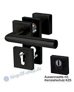 Sicura Oliver / Ronny Square -R Basic Rosetten-Schutzgarnitur mit KZS, Griffplatte / Drücker, schwarz matt Südmetall