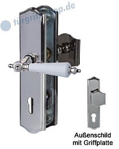 Sicura Platon Schutzgarnitur Griffplatte/Drücker Edelstahlfarbig-poliert/weiss Südmetall