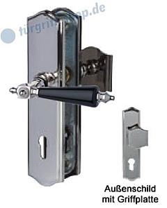 Sicura Platon Schutzgarnitur Griffplatte/Drücker Edelstahlfarbig-poliert/schwarz Südmetall