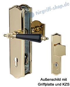 Sicura Platon Schutzgarnitur Griffplatte/Drücker KZS Robusta Gold/schwarz Südmetall