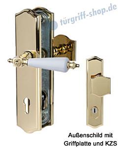 Sicura Platon Schutzgarnitur Griffplatte/Drücker KZS Robusta Gold/weiß Südmetall