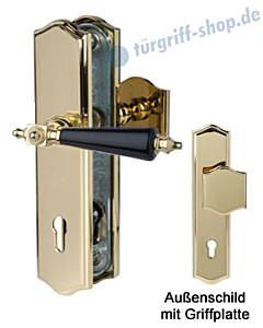 Sicura Platon Schutzgarnitur Griffplatte/Drücker Robusta Gold/schwarz Südmetall